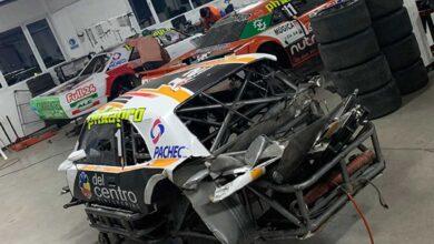 Así quedó la Dodge de Krujoski tras el accidente en Buenos Aires.