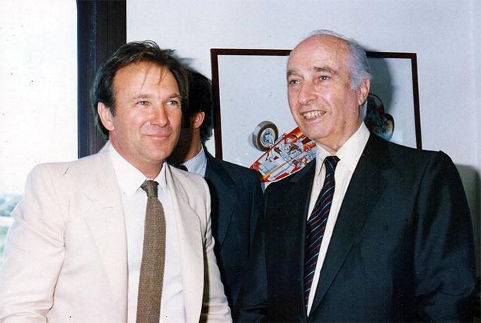 Tulio Crespi y Juan Manuel Fangio