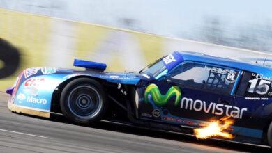 Ledesma con el Chevrolet largando fuego
